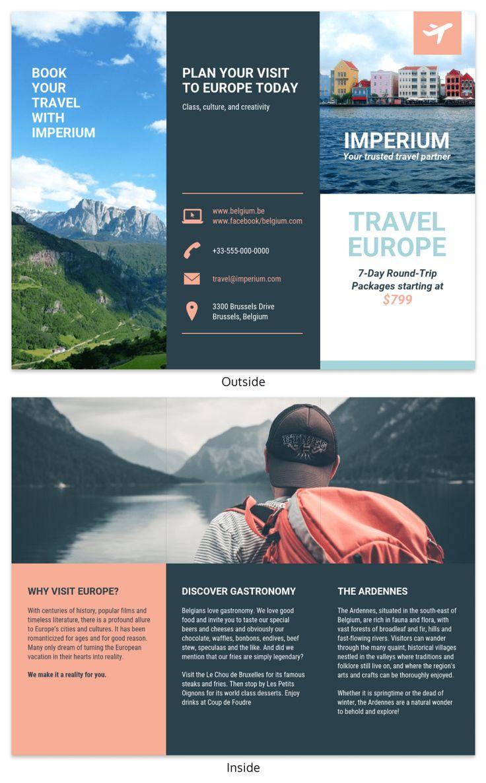 Europe Tourism Travel Tri Fold Brochure Template Travel Brochure Template Tourism Design Trifold Brochure Tri fold travel brochure template