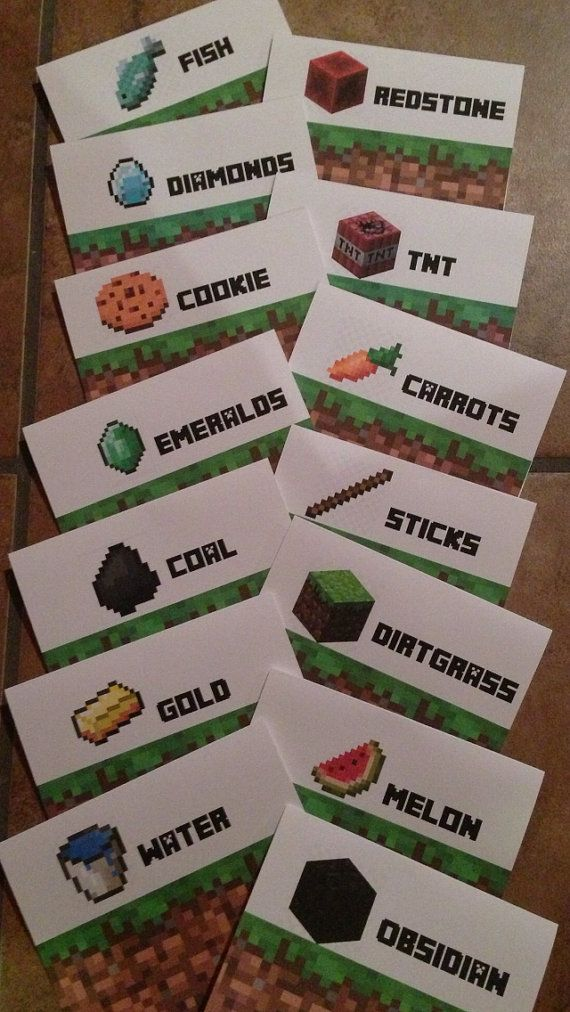 Minecraft Party 14 Food / Snacks Customized Sign Tent Cards
