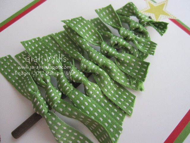 Ribbon tree: this would be cute on a cinnamon stick as a package ornie.