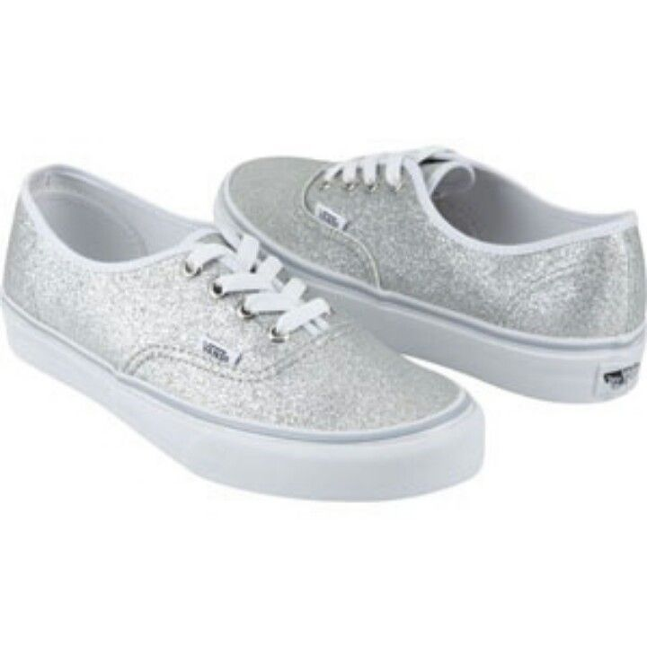 Silver Sparkly Vans Shoes