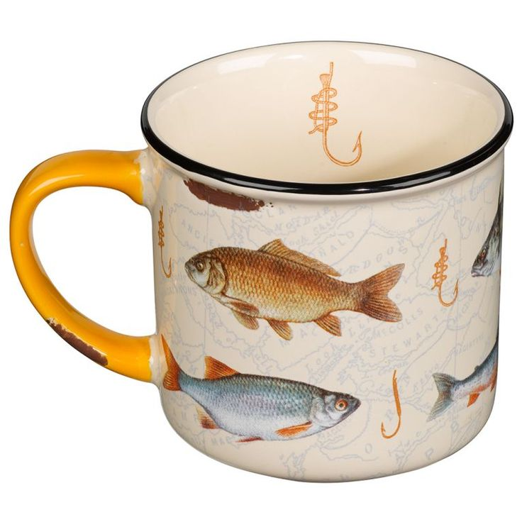 Hook Line And Sinker Distressed Ceramic Mug With Fish On A