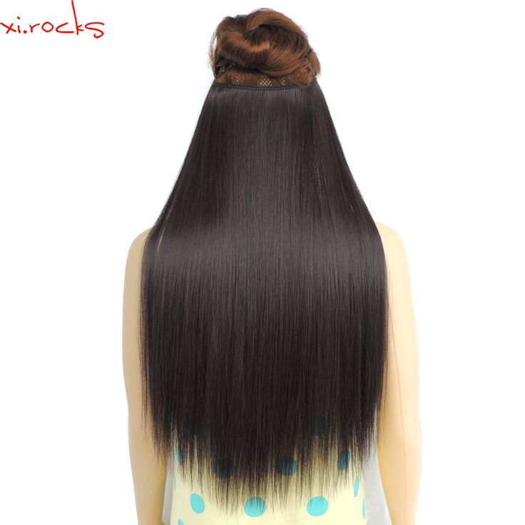 Xi.rocks 25 Colors Halo Elastic Rope Hair Extension Synthetic Around the Head or Straight Sew in Weave 80g 24inch Double Weft