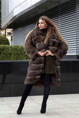 d35366cb8f6 Luxury Full Pelt Genuine Fox Fur Coat For Women Warm Big Collar Dark Sable  Color