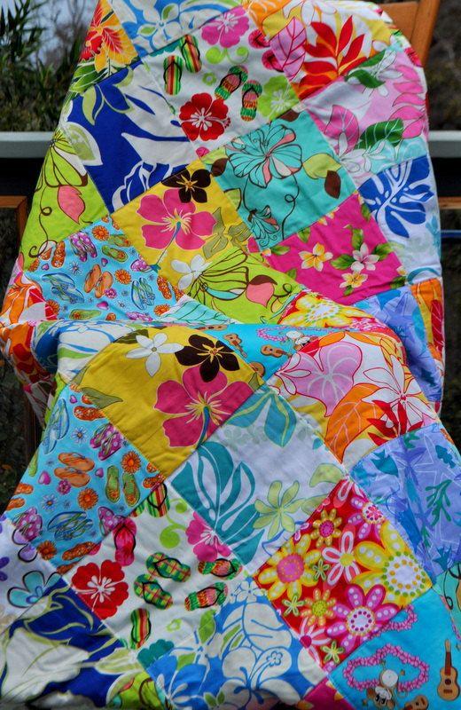 Bright And Feminine Hawaiian Baby Or Lap Quilt Aloha