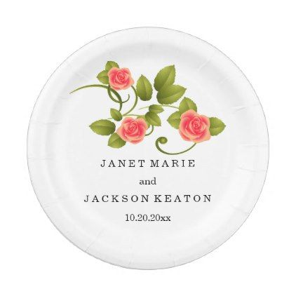 Coral Rose Wedding Paper Plate - summer wedding diy marriage customize personalize couple idea individuel