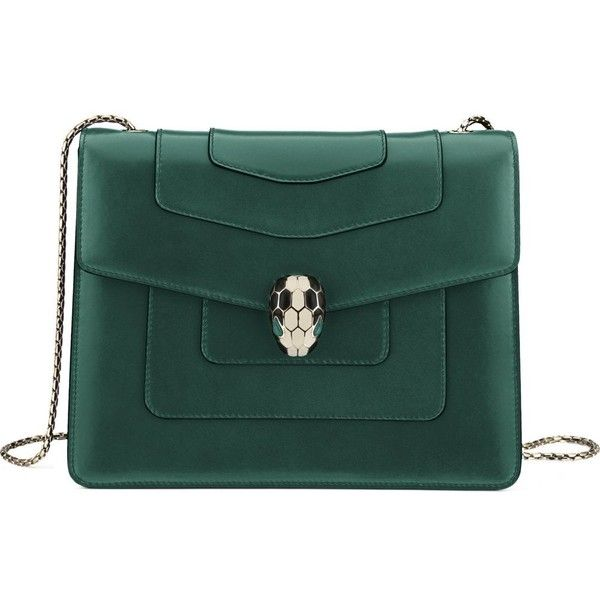 BVLGARI Serpenti forever hobo calf-leather shoulder bag ($1,800) ❤ liked on Polyvore featuring bags, handbags, shoulder bags, bolsas de lado, emerald green, shoulder handbags, shoulder strap handbags, green shoulder bag, hobo hand bags and handbag purse