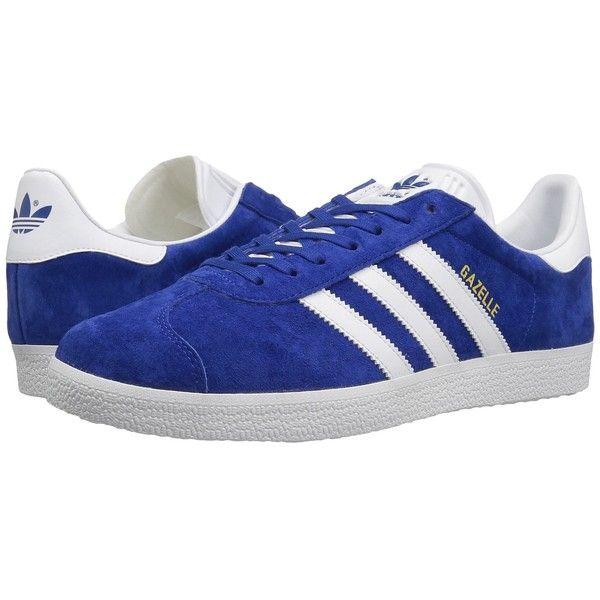 adidas Originals Gazelle Foundation (Collegiate Royal/White/Gold... ($80) ❤ liked on Polyvore featuring men's fashion, men's shoes, mens white shoes, mens lace up shoes, mens shoes, mens tennis shoes and mens white tennis shoes