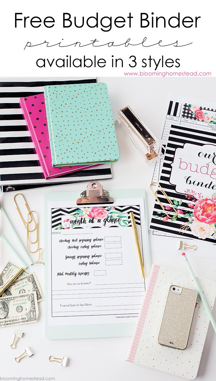 Check out these Free budget binder printable sets at Blooming Homestead. They are available in 3 different styles and you can also get 7 Tips for a Successful Budget.