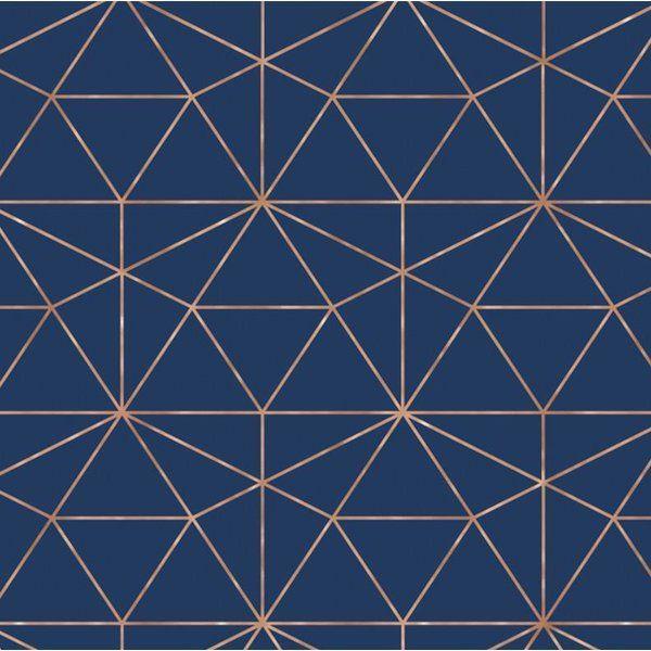 Graphic Quartz 24 L X 25 W Peel And Stick Wallpaper Roll In 2021 Geometric Wallpaper Navy And Copper Copper Wallpaper