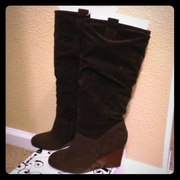 ️REDUCED‼️NWT Rampage Faux Suede Brown Wedge Boots Oh so stylish faux brown wedge boots.  Had hoped they would fit with thick socks but just too big for me.  Return by date has expired.  Never worn.  ❌Trades❌PP Rampage Shoes
