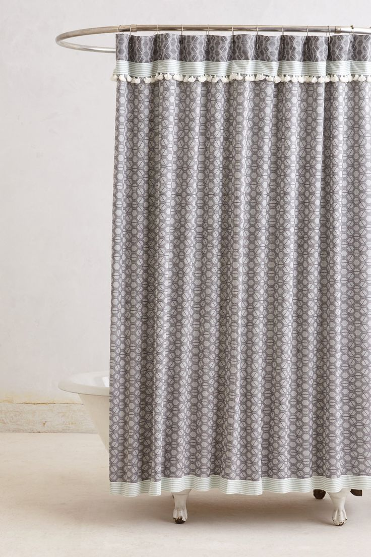 Restoration hardware shower curtain bee - Tasseled Dayton Shower Curtain In Grey Comes In Lilac And Blue Too Anthropologie
