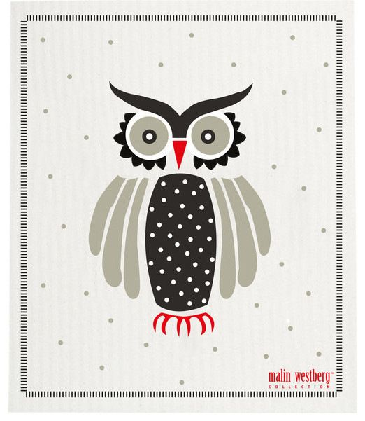 Swedish Dishcloth Grey & Black Owls, Rows of Owls contemporary-dishtowels
