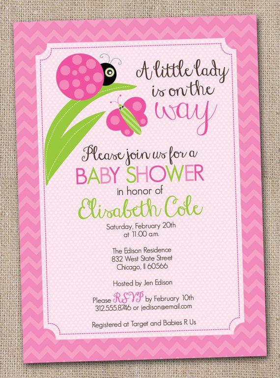Little Lady Pink Ladybug Printable Baby Shower Invitation Digital File on Etsy, $16.00