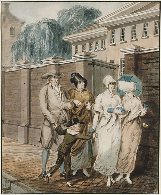 Sunday Morning in front of the Arch Street Meeting House, Philadelphia  Attributed to John Lewis Krimmel  (1786–1821)  Former Attribution: Formerly attributed to Pavel Petrovich Svinin (1787/88–1839) Date: 1811–ca. 1813 Medium: Watercolor, black ink, and graphite on white laid paper