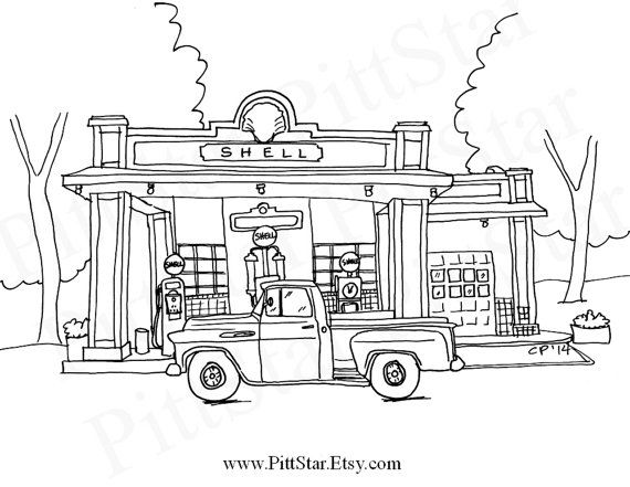 gas station coloring page - photo #19