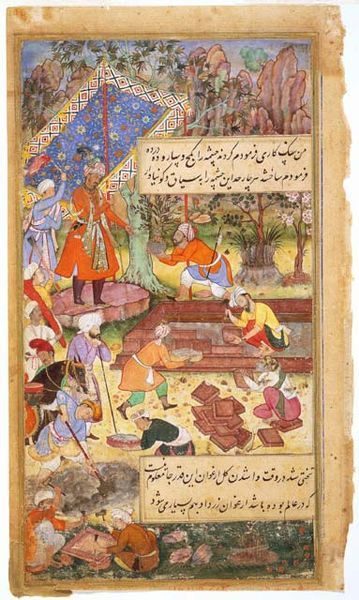 "Folio from a ""Baburnama"" Manuscript: Mughal Ruler Babur Supervising the Creation of a Garden  Date(c. 1590-1598)"