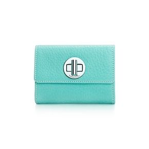 Love! Compact wallet in Tiffany Blue® grain leather.
