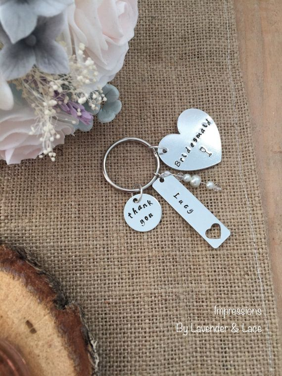 Bridesmaid, flower girl, best man, usher, groomsman petsonalised keyring with name, role, thank you and beaded drop