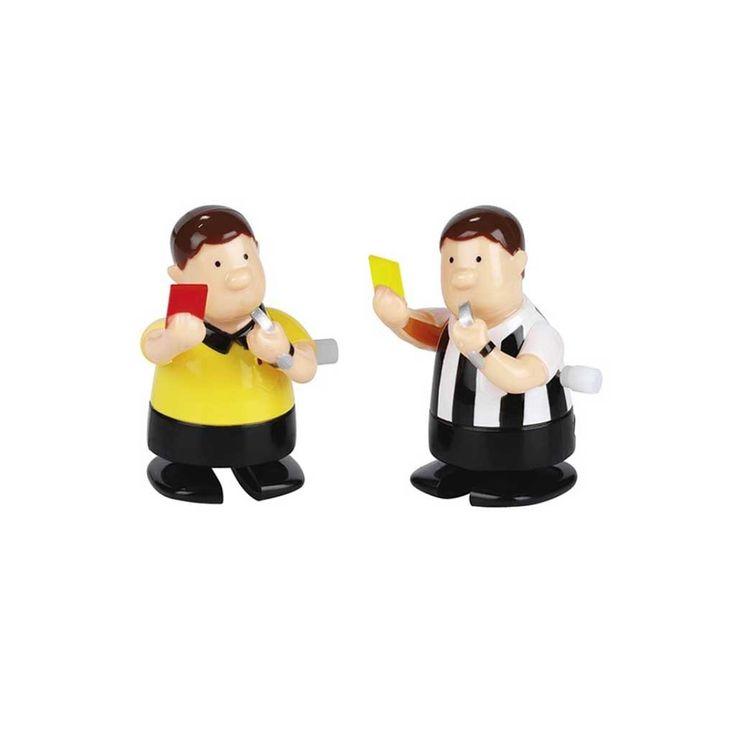 Fußball Schiedsrichter Ausziehfigur, zeigen wahlweise die rote oder gelbe Karte