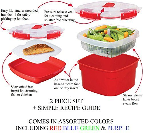 Sistema 2 Piece Medium Microwave Steamer and Plate Set with a Starter Recipe Guide for 15 Amazing Steamer Meals - Assorted Colors // http://cookersreview.us/product/sistema-2-piece-medium-microwave-steamer-and-plate-set-with-a-starter-recipe-guide-for-15-amazing-steamer-meals-assorted-colors/  #cooker #pressure #electric