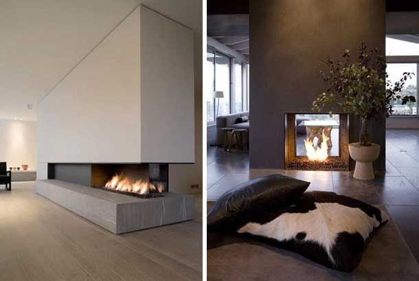 48 chimeneas modernas para la separaci n de espacios - Salones con chimeneas modernas ...