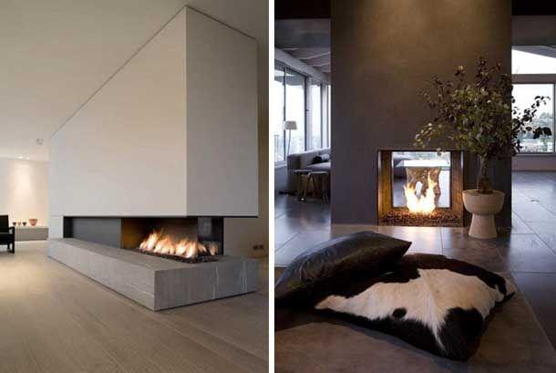 48 chimeneas modernas para la separaci n de espacios for Salones minimalistas con chimenea