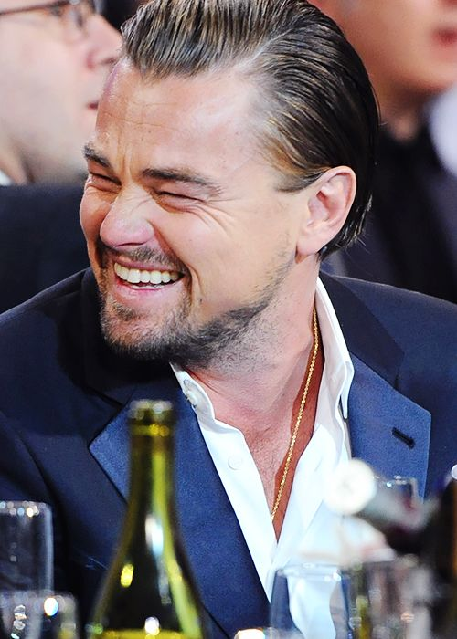 """leonardodicrapio: """" Leonardo DiCaprio laughing at the lesser beings all around him at The Critic's Choice Awards, January 16th, 2014 """""""