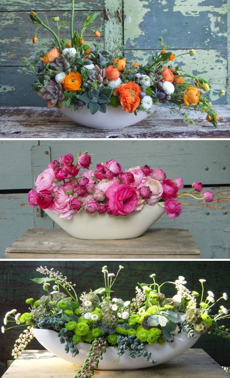 love the low wide container...and the colors and succulents in the top arrangement