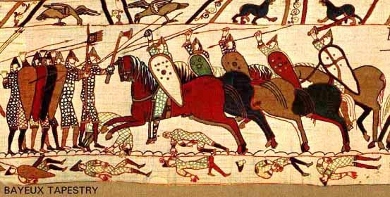 Early medieval Norman knights charging English foot-soldiers at the Battle of Hastings (1066 C.E.) from the Bayeux Tapestry from The History of Knights
