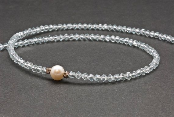 Blue Crystal and White Pearl Necklace Elegant by PiscesAndFishes
