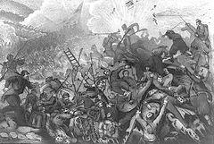 Guerra de Crimea - Combate entre tropas francesas y rusas durante el sitio de Sebastopol