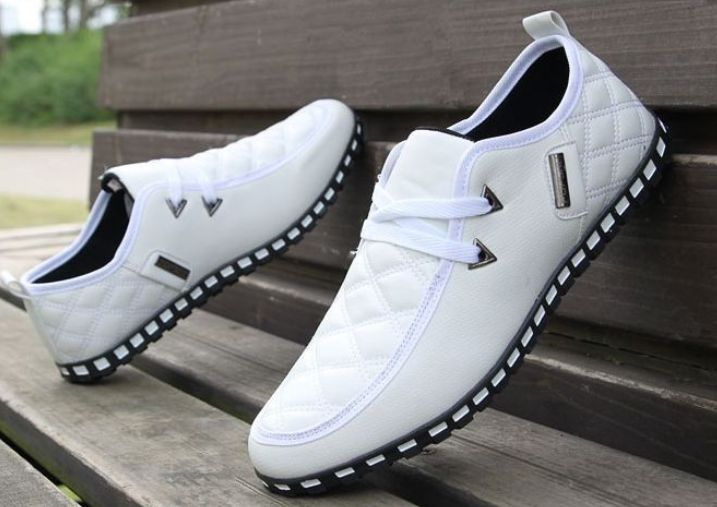 Men's Comfortable Loafers Lace up Leather Sneakers Driving Shoes Walker Trend Flats