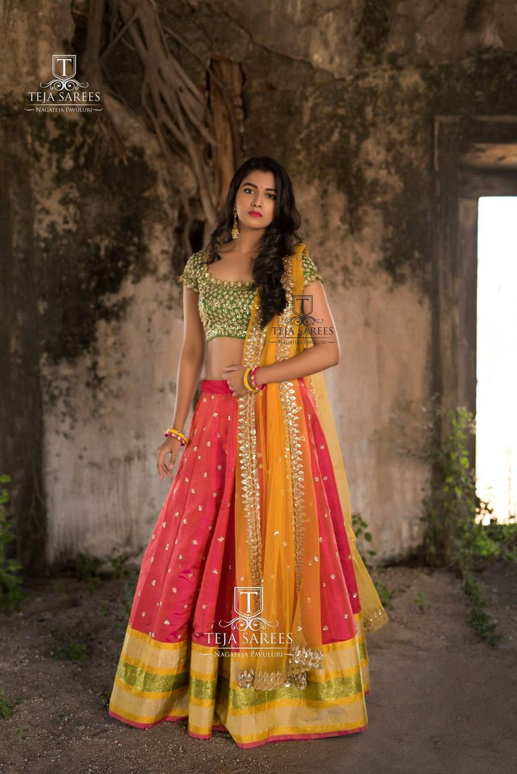 Beautiful pink color lehenga and green color designer blouse with mustard net dupatta. Blouse with heavy hand embroidery zardosi work. This is perfect for this wedding season. 13 November 2017