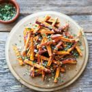 Try the Sweet Potato Fries with Garlic and Herbs Recipe on williams-sonoma.com/ -----okeypokey