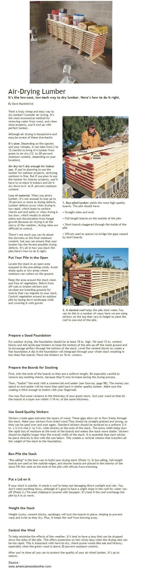 Air-Drying Lumber | WoodworkerZ.com