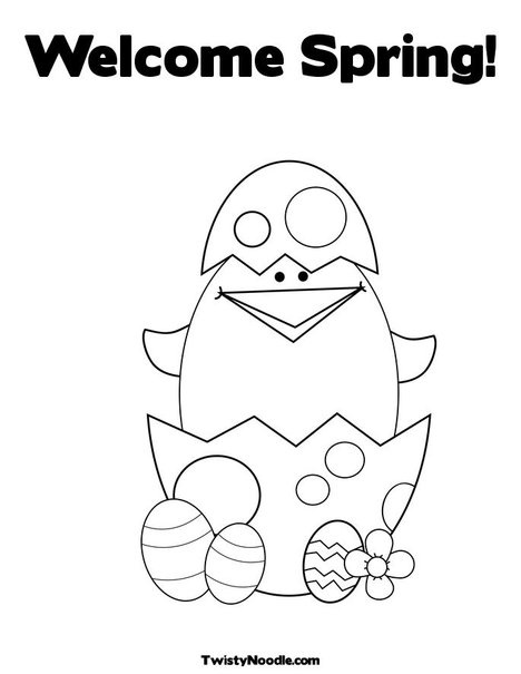 Welcome Spring Coloring Page from TwistyNoodle.com