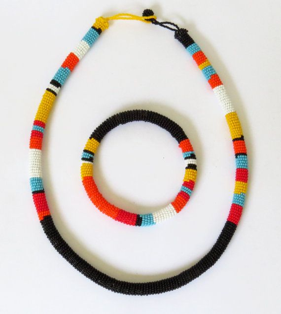 African Zulu beaded necklace and round by GoneRuralSafariCurio