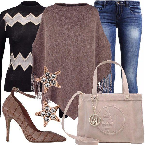 Outfit+perfetto+per+un+giro+in+centro+con+le+amiche+o+con+il+partner.+Jeans+skinny+abbinato+a+delizioso+maglione+black+leggermente+trasparente+con+inserti+a+contrasto.+La+mantella+brown+completa+il+look+riprendendo+i+toni+degli+accessori,+dalla+borsa+con+logo+Armani+Jeans+dove/grey,+alle+bellissime+décolleté+con+stampa+di+coccodrillo+color+sabbia+e+con+cinturino+alla+caviglia.+Gli+orecchini+a+stella+completano+il+tutto+regalandoci+un+tocco+romantico.