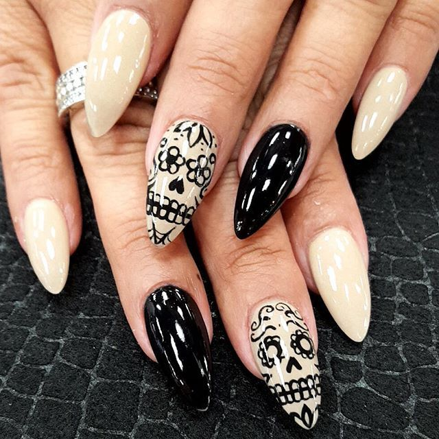 Best 25 skull nail art ideas on pinterest skull nails diy 20 sugar skull nail accents that honor your mexican heritage on da de los muertos prinsesfo Images