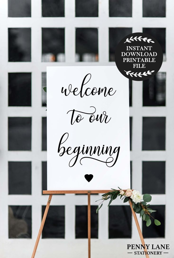 Welcome to our Beginning Wedding Welcome Poster Sign