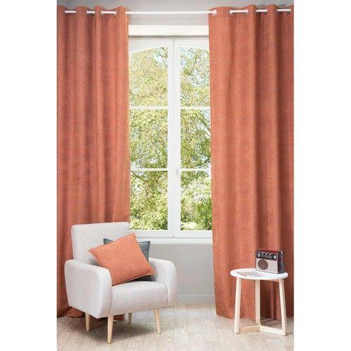 CHENILLE orange ochre eyelet curtain 140 x 300 cm
