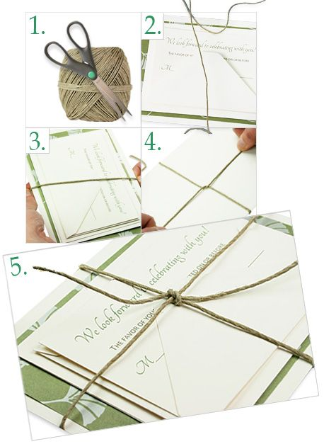 Twine wrapped wedding invites - I already sent my invitations out, but I did this same thing.