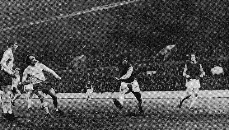 23rd November 1971. Jimmy Greaves comes out of retirement and scores for an International XI against West Ham United, in Geoff Hurst testimonial.