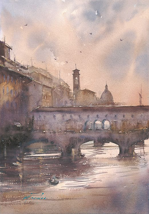 Sunset, Florence, Italy II    by Keiko Tanabe   Watercolor19 x 13 inches