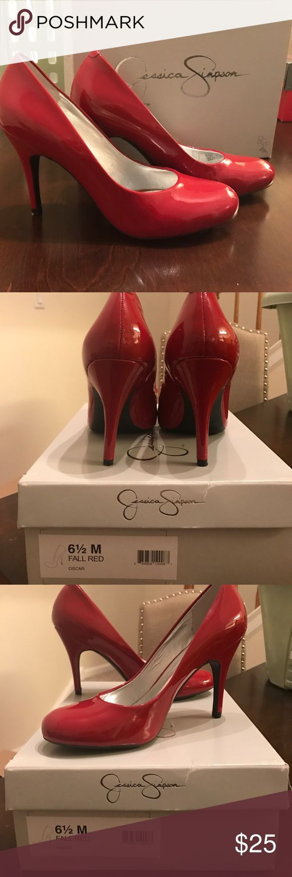 Jessica Simpson Red Pumps Like new worn once Jessica Simpson Shoes Heels