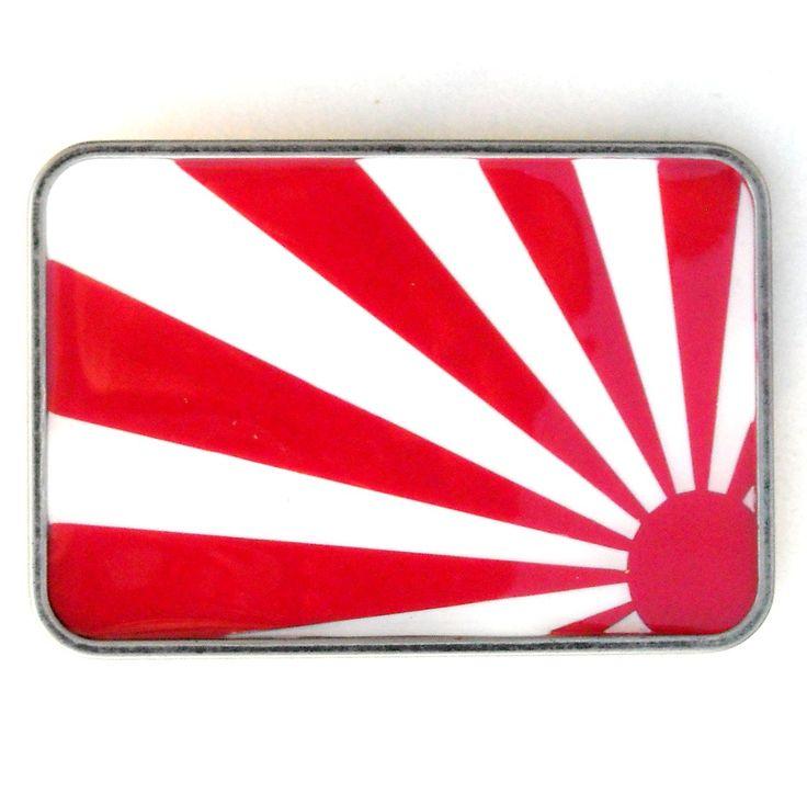 Rising Sun Metal Red White Heavy Belt Buckle