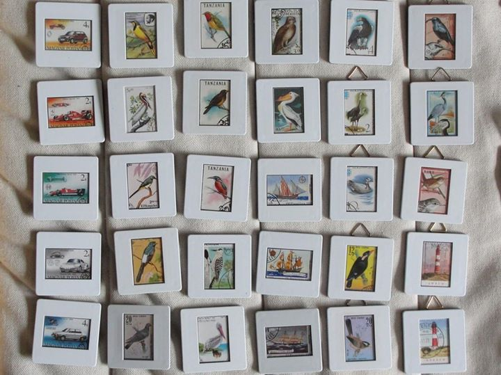 Magnete und Bilder aus Diarahmen und Briefmarken  Magnets and little pictures made from slides and old stamps by Recycling-art