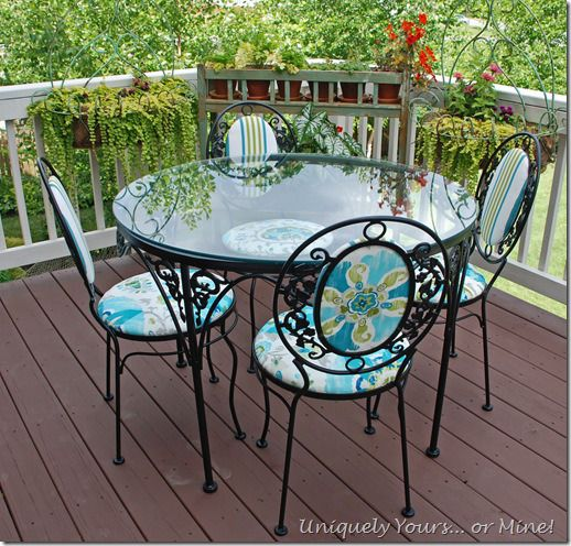 Vintage Wrought Iron Patio Set Updated Refinished