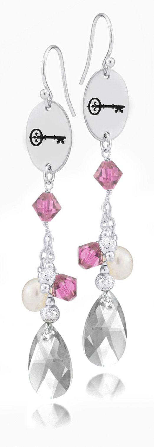 Kappa Kappa Gamma Symbol Pink Crystal and Freshwater Pearl Earrings