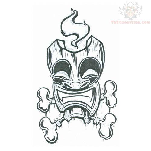 tiki tattoo | Tiki Mask With Bones Tattoo Design